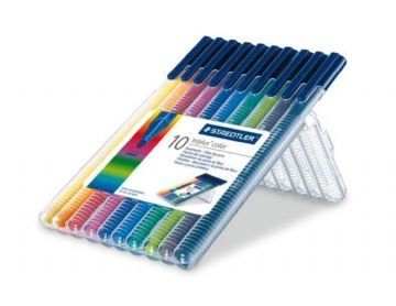 10 x STAEDTLER TRIPLUS COLOR 323 ASSORTED COLOURS - DESKTOP BOX (323 SB10)